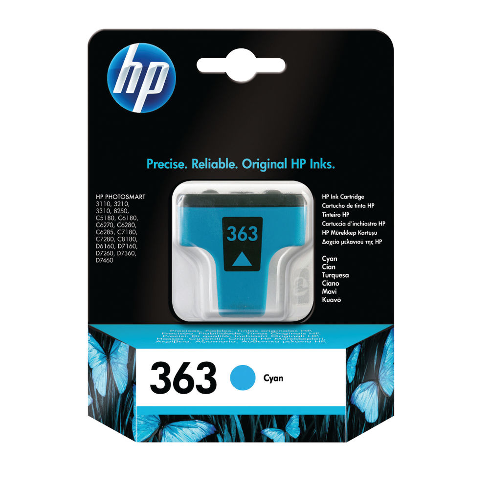 HP 363 Cyan Standard Yield Ink Cartridge | C8771EE