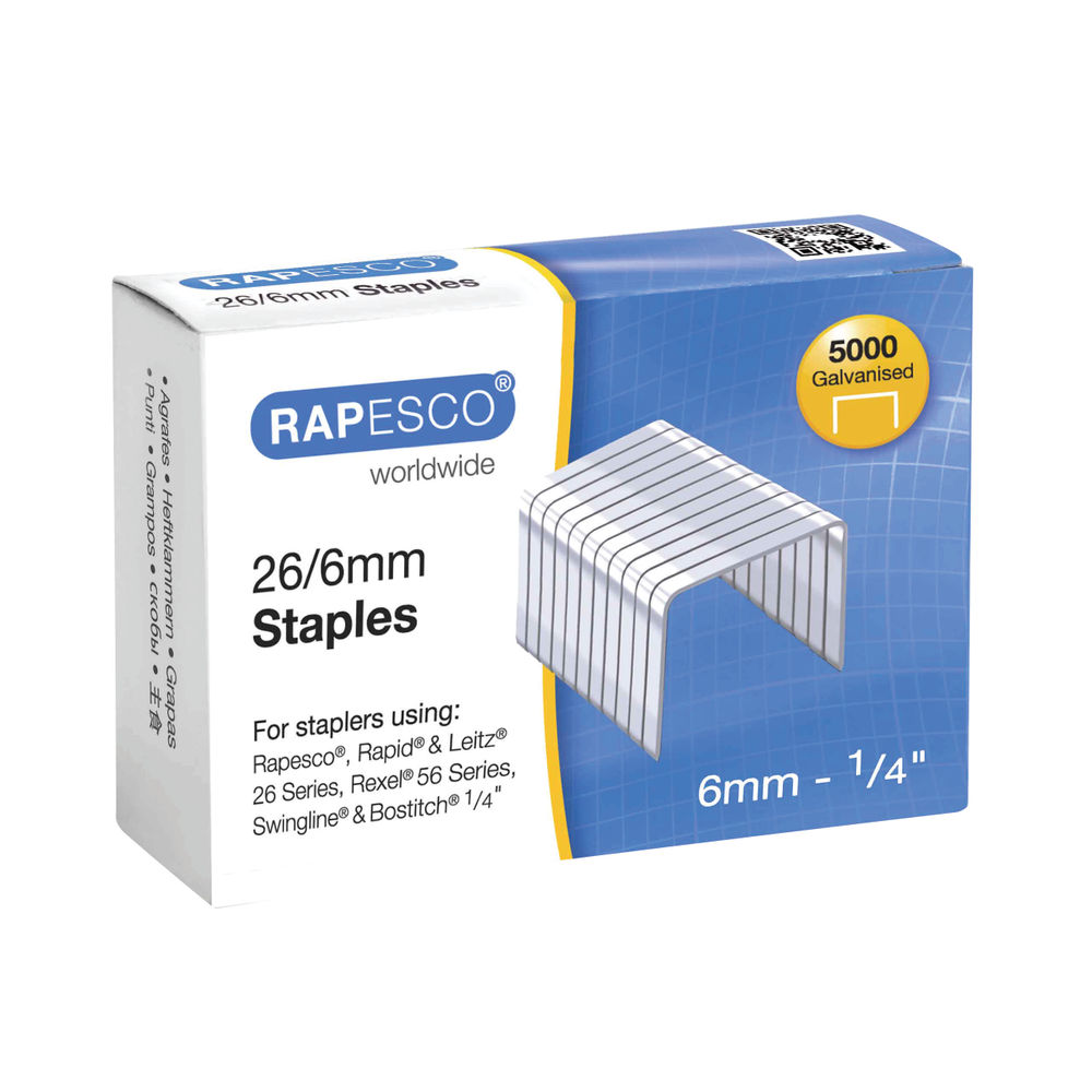 Rapesco No.26 Metal Staples 26/6mm, Pack of 5000 - S11662Z3