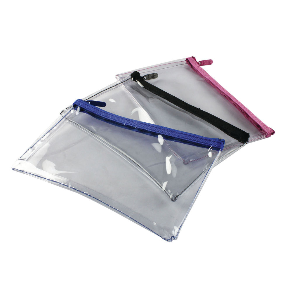 Helix Assorted Clear Pencil Cases, Pack of 12 - M77040