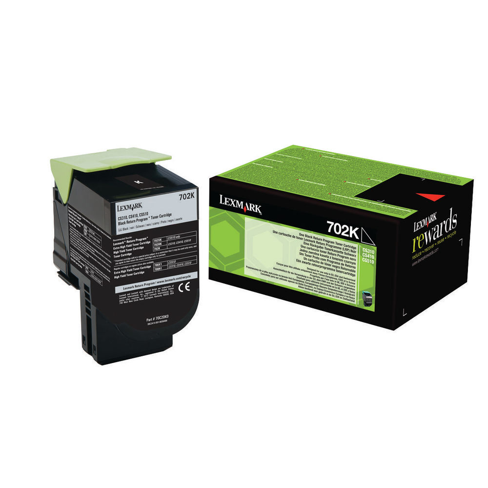 Lexmark 702K Black Toner Cartridge - 70C20K0