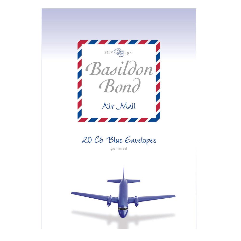 Basildon Bond Blue C6 Airmail Envelope 114 x 162mm, (10 Packs x 20) - JD90429
