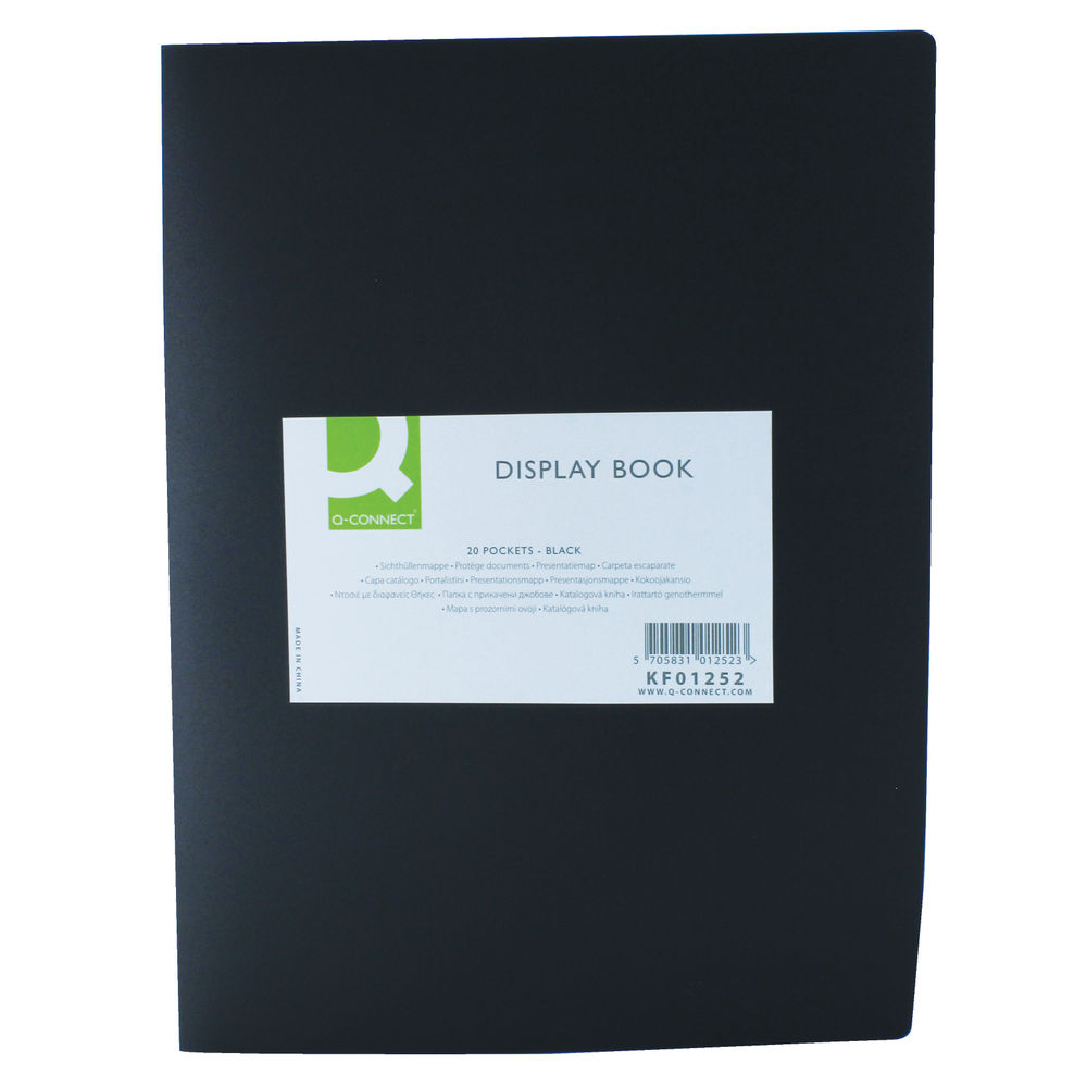 Q-Connect Black 20 Pocket Display Book - CON01252