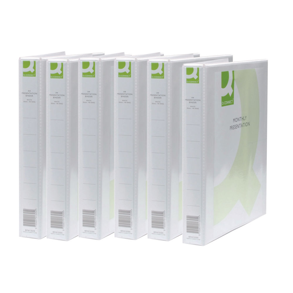 Q-Connect White A4 2 D-Ring Polypropylene Ring Binders, Pack of 6 - KF72645