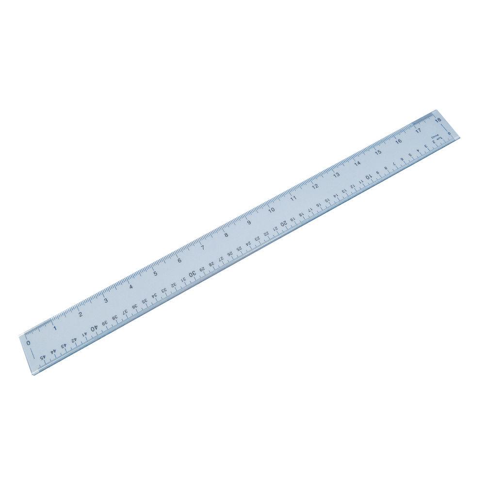 Plastic Shatter Resistant Ruler 45cm Clear 843800/1