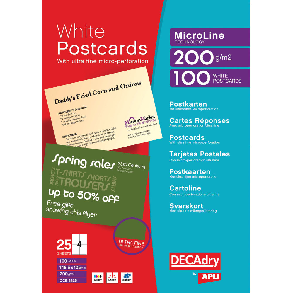 Decadry A4 White Postcards, 200gsm, Pack of 100 - OCB3325