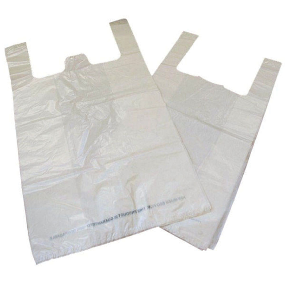 Biodegradable White Carrier Bags (Pack of 1000) - 5011001