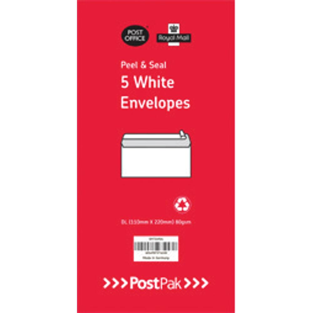 Envelopes Dl Peel & Seal White 80Gsm (Pack of 5) POF27433