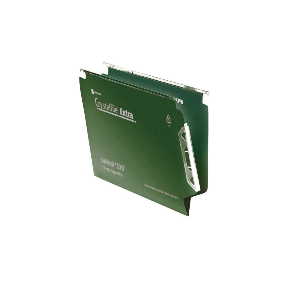 Rexel Crystalfile Extra Green A4 Lateral Files, 15mm, Pack of 25 - 3000121