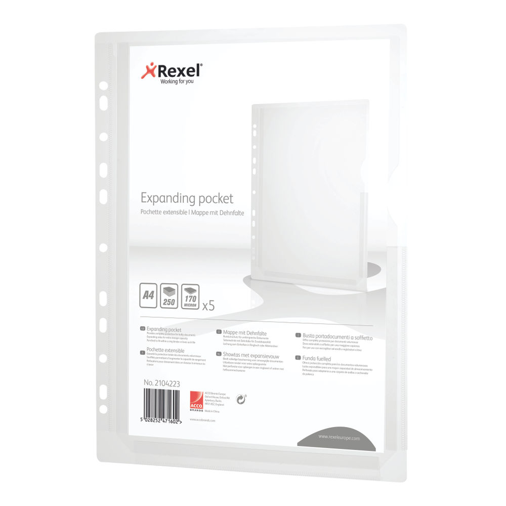 Rexel Expanding Plastic Punched Pockets A4 (Pack of 5) 2104223