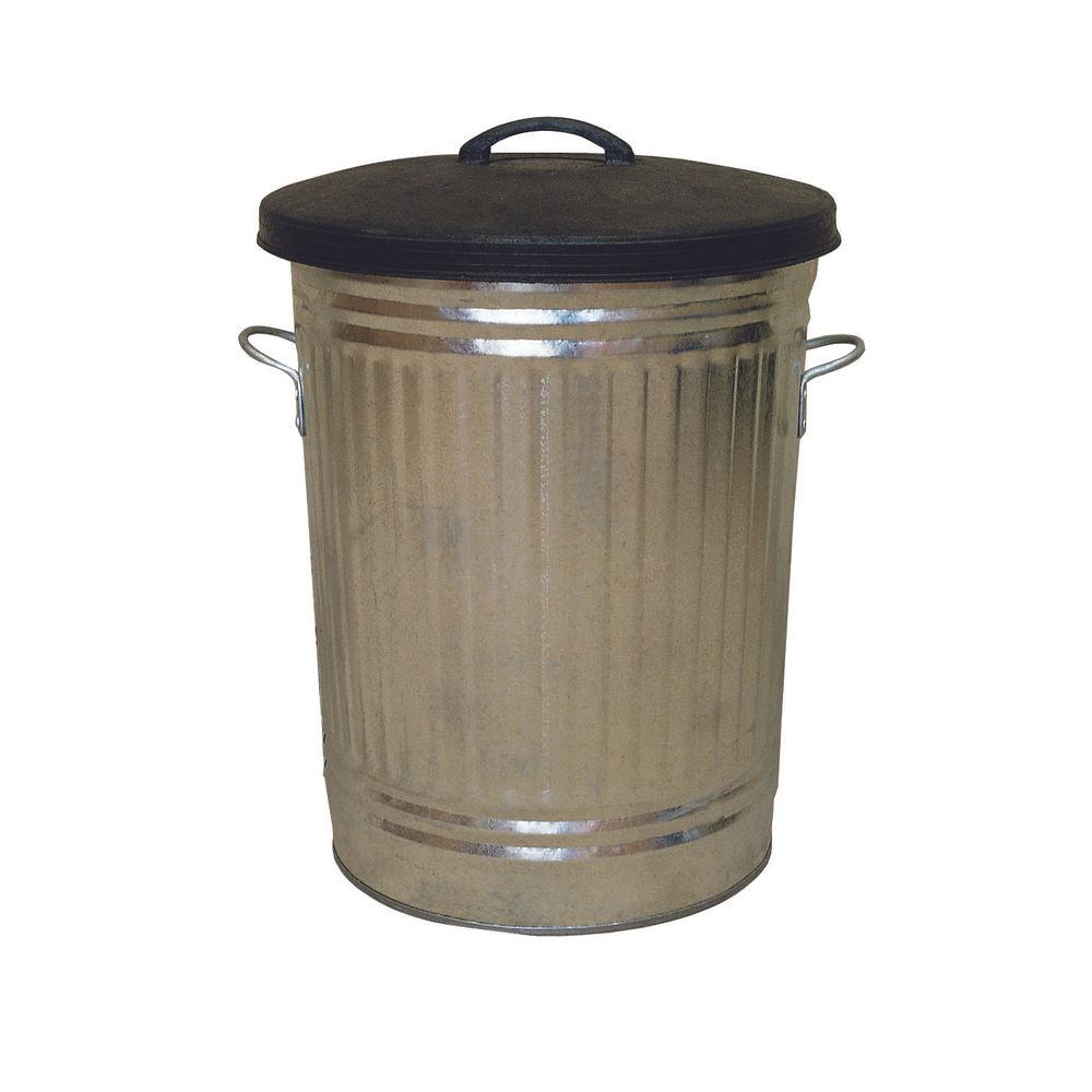 90 Litre Rubber Lid Galvanised Dustbin - 316625
