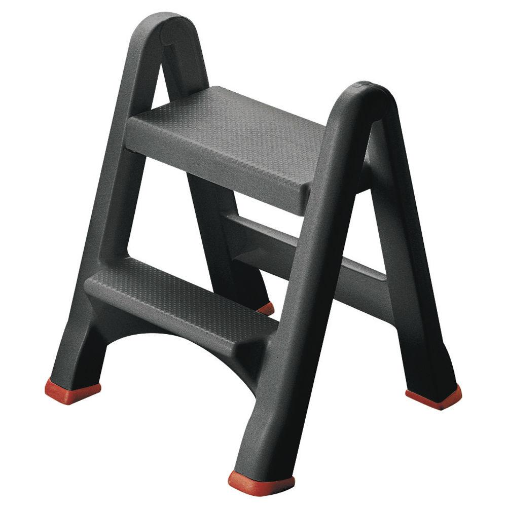 Folding Plastic Step Stool Black 333650