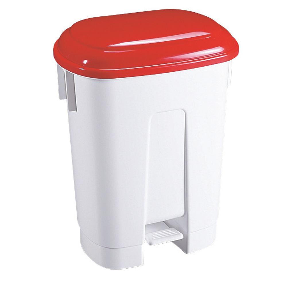 Derby Plastic Pedal Bin 60 Litre White/Red (Dimensions: W500 x D360 x H680mm) 348012