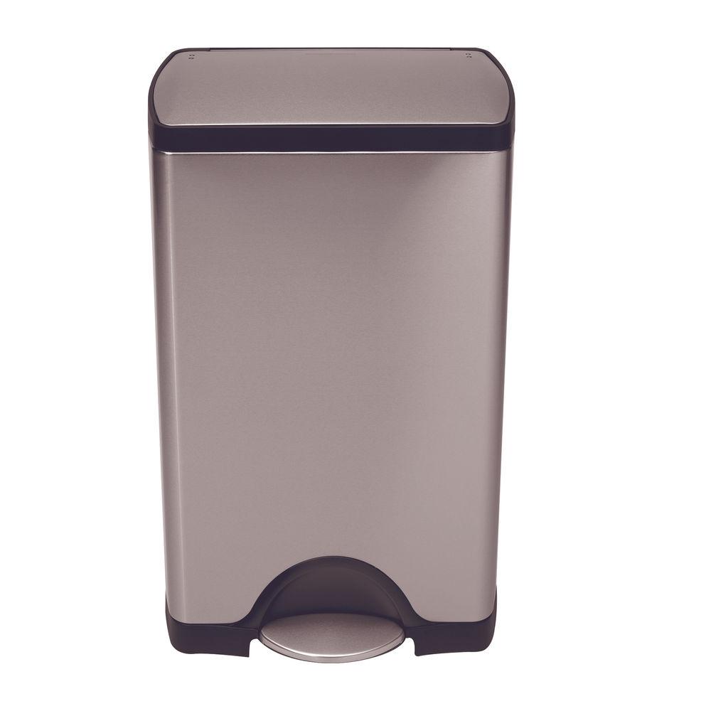 Silver Deluxe Rectangular 38 Litre Pedal Bin 374815