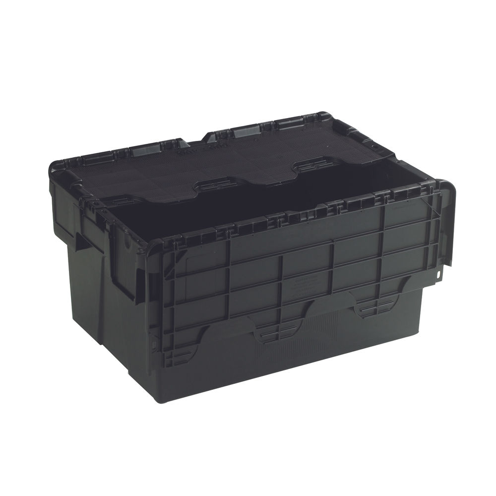 Black 54 Litre Attached Lid Container - 375814
