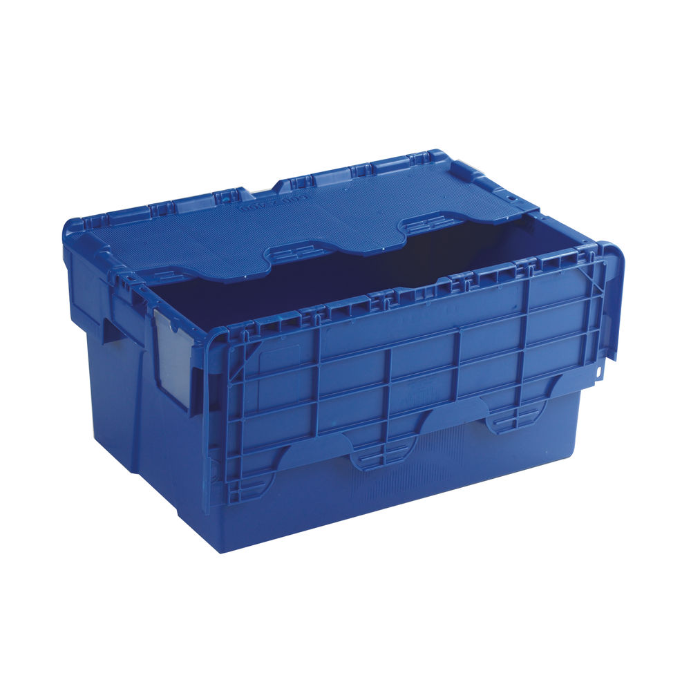 Blue 54 Litre Attached Lid Container - 375815