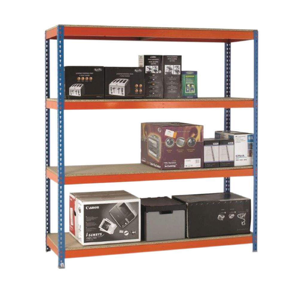 VFM 2000 x 450mm Orange/Zinc Heavy Duty Painted Shelving Unit - 379028