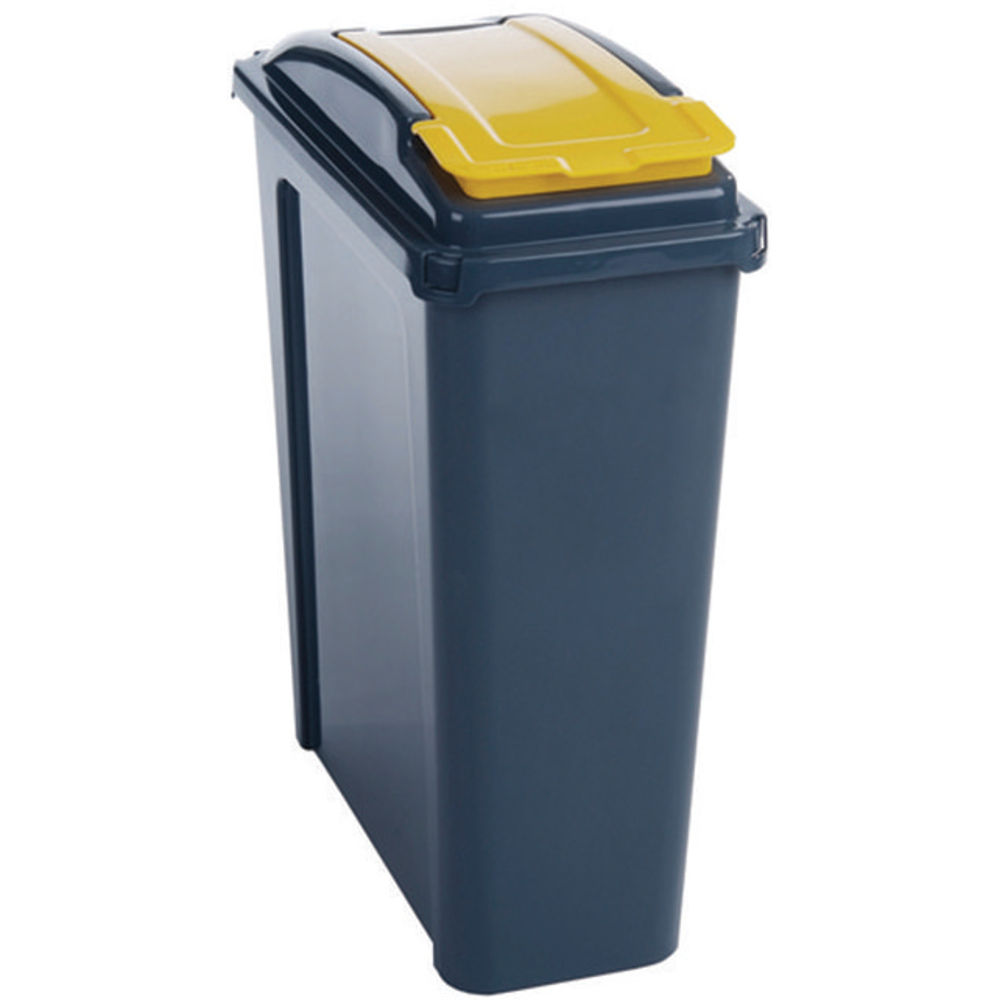 VFM Recycling Bin With Lid 25 Litre Yellow (Dimensions: 190 x 400 x 510mm) 384283