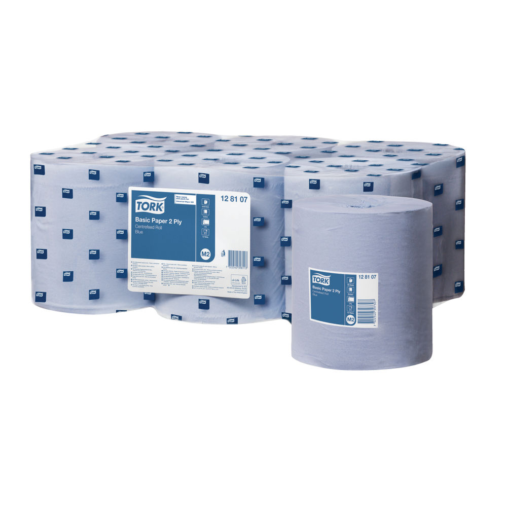 Tork Blue M2Centrefeed Rolls 2-Ply 150m (Pack of 6) 128107