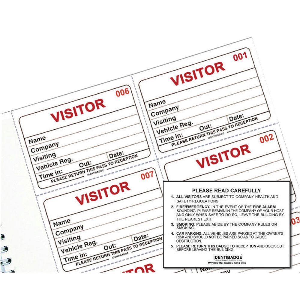 IdentiBadge Visitors Book Badge Refills, 60x90mm, Pack of 100 - IBRSYS