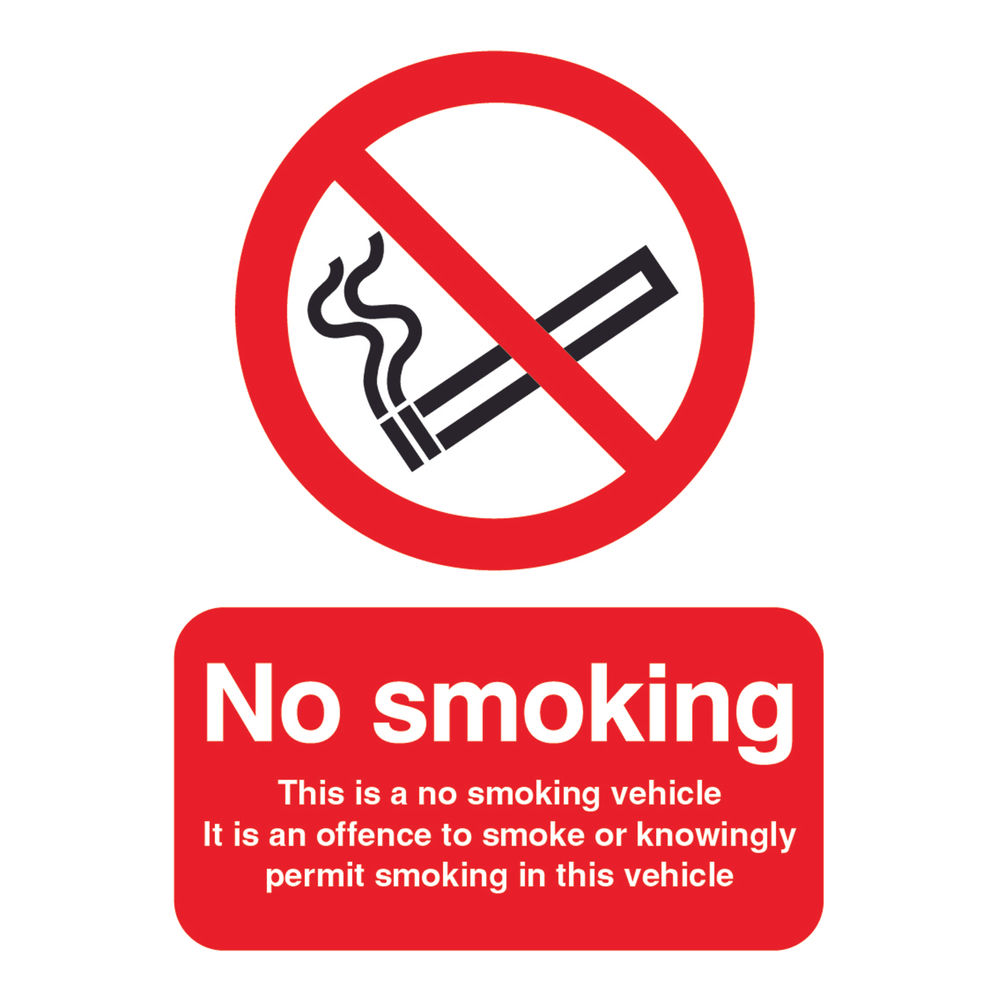 100 x 75mm This is a No Smoking Vehicle Self-Adhesive Safety Sign - PH05104S