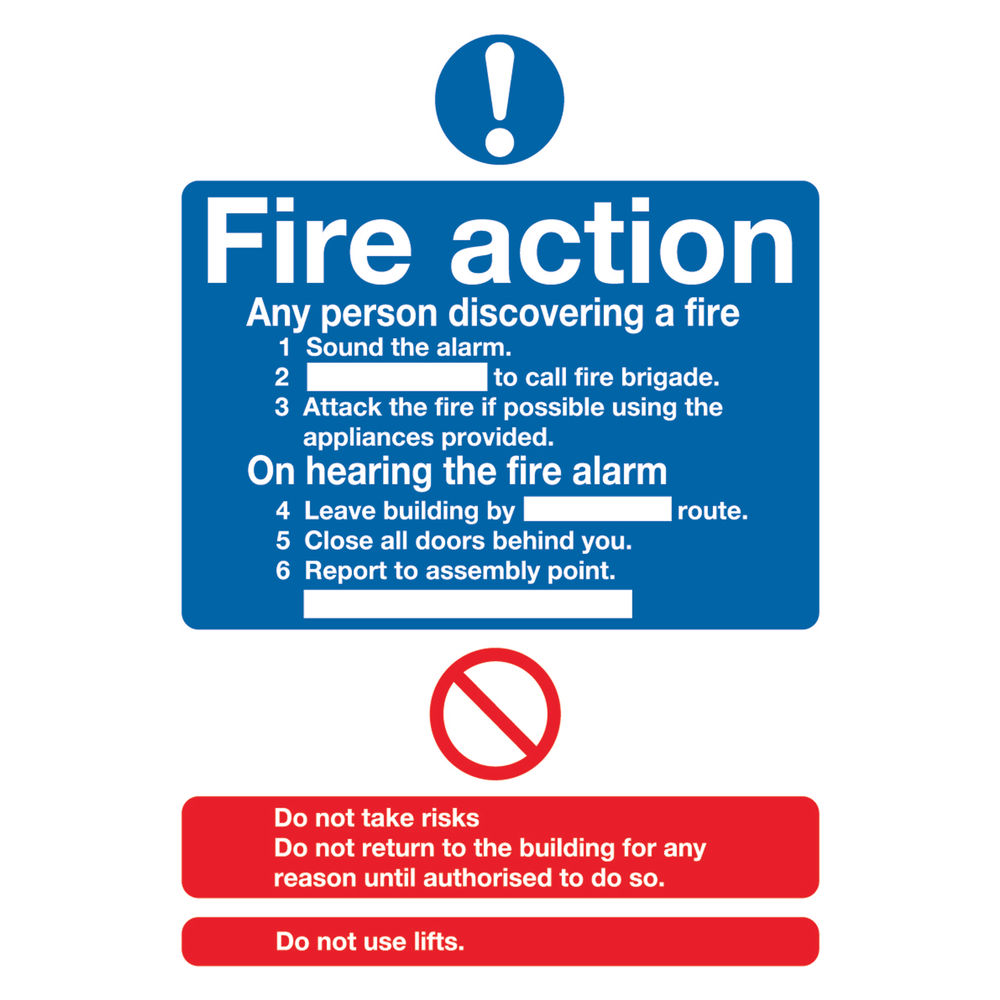 Fire Action Standard A5 PVC Safety Sign - FR03551R