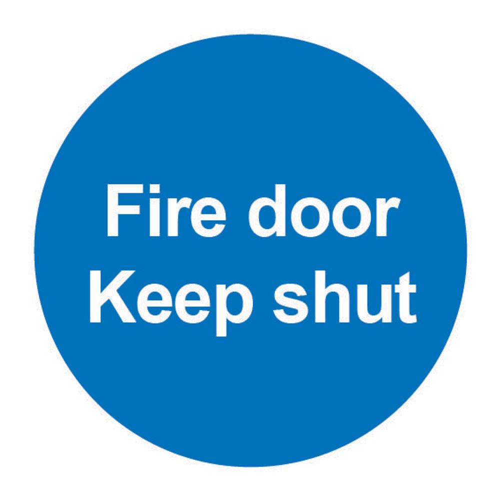 Fire Door Keep Shut 100 x 100mm PVC Safety Sign - FR07002R