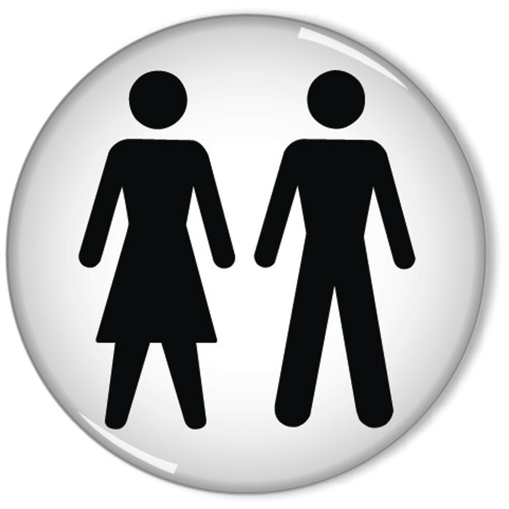 Women and Men 60mm Self-Adhesive Symbol Domed Sign - RDS3