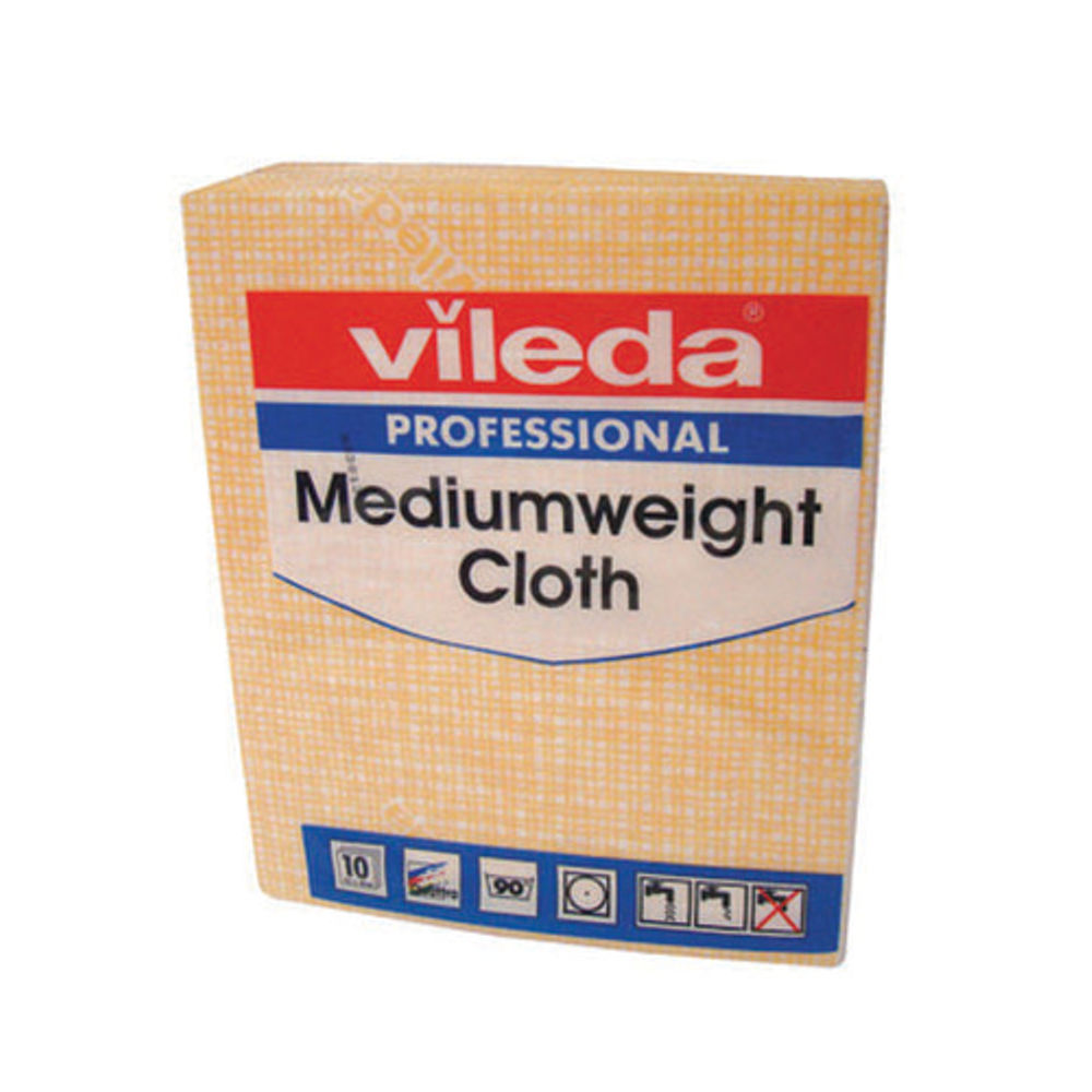 Vileda Yellow Medium Weight Cloths, Pack of 10 - 106402
