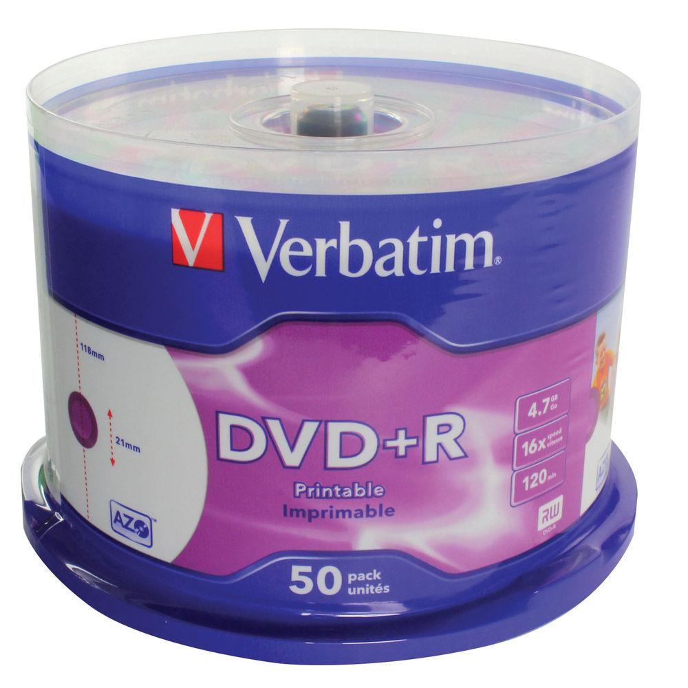 Verbatim 4.7GB 16x Speed Printable DVD+R Spindle, Pack of 50 | 43512