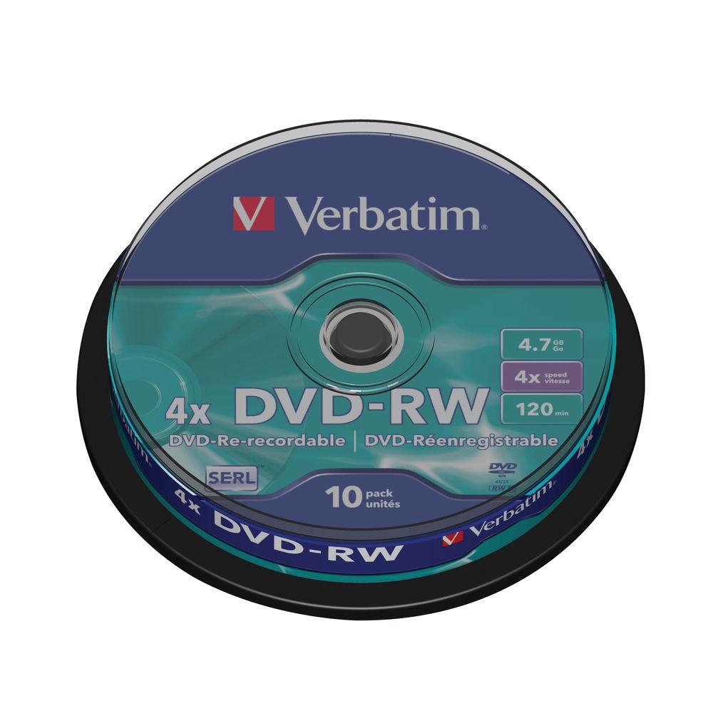 Verbatim Non-Printable 4.7GB 4x DVD-R Discs, Pack of 10 - 43552