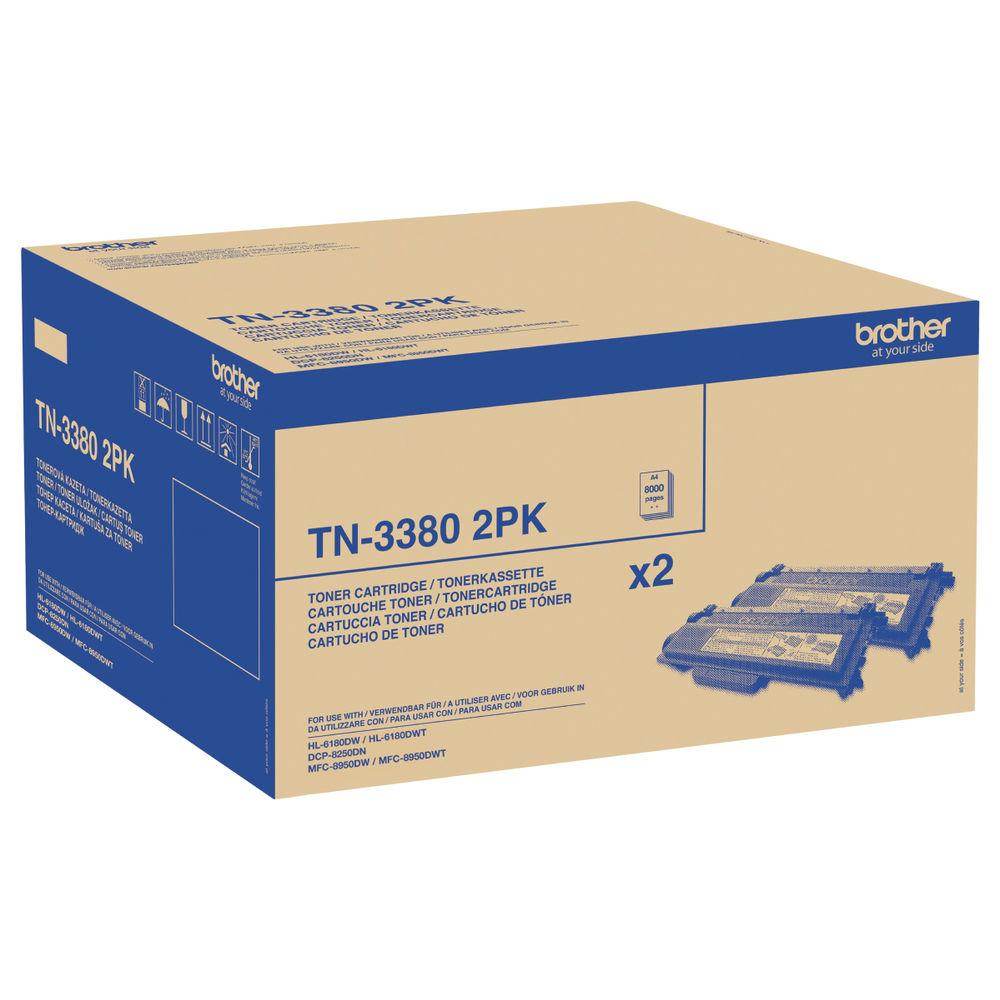 Brother TN-3380 Black High Yield Laser Toner Cartridge, Twin Pack - TN3380TWIN