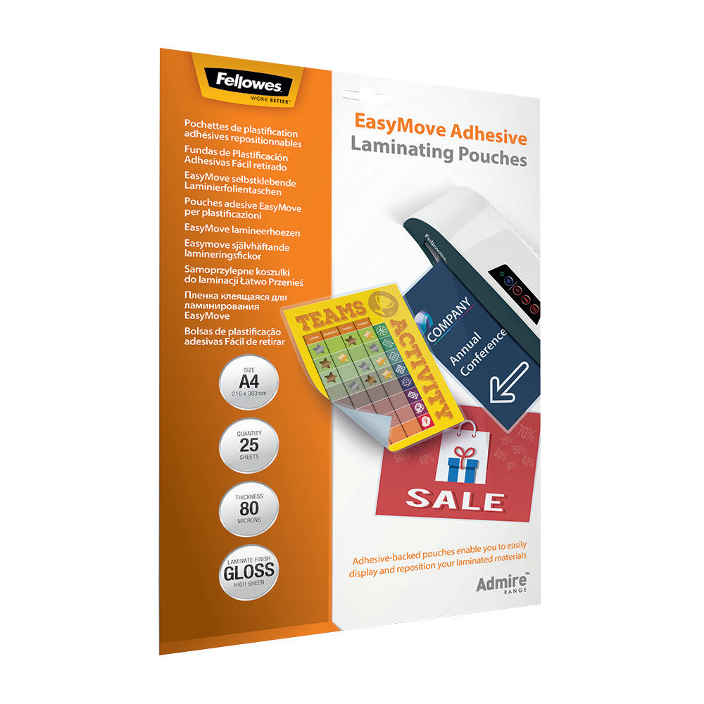 Fellowes A4 EasyMove Adhesive Laminating Pouches, Pack of 25 - 5601701