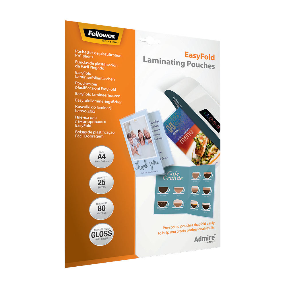 Fellowes A4 Admire EasyFold Laminating Pouches, Pack of 25 - 5601901