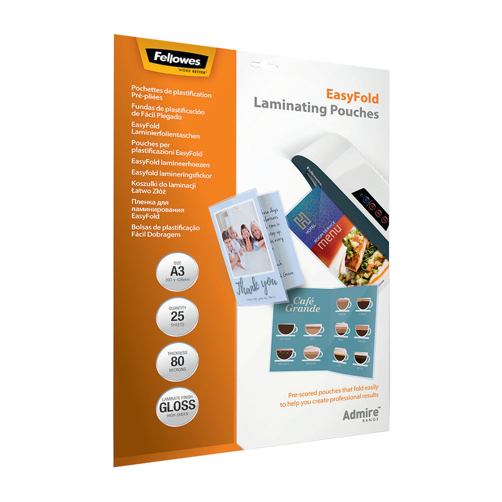 Fellowes Admire EasyFold A3 Laminating Pouches, Pack of 25 - 5602001