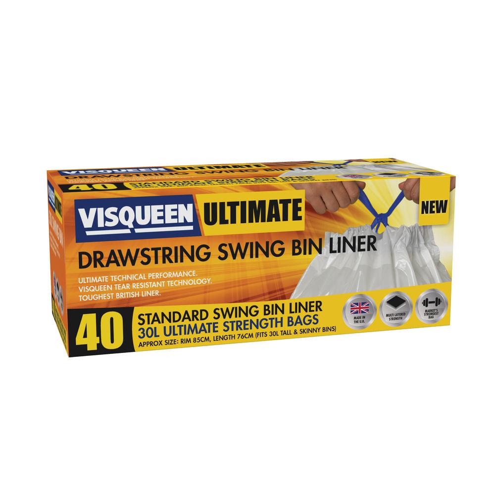 Visqueen Ultimate Drawstring Swing Bin Liner 30 Litre White (Pack of 40) RS05776
