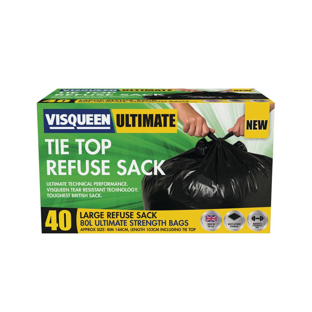 Visqueen 80L Black Ultimate Tie Top Refuse Sacks, Pack of 40 - RS057769