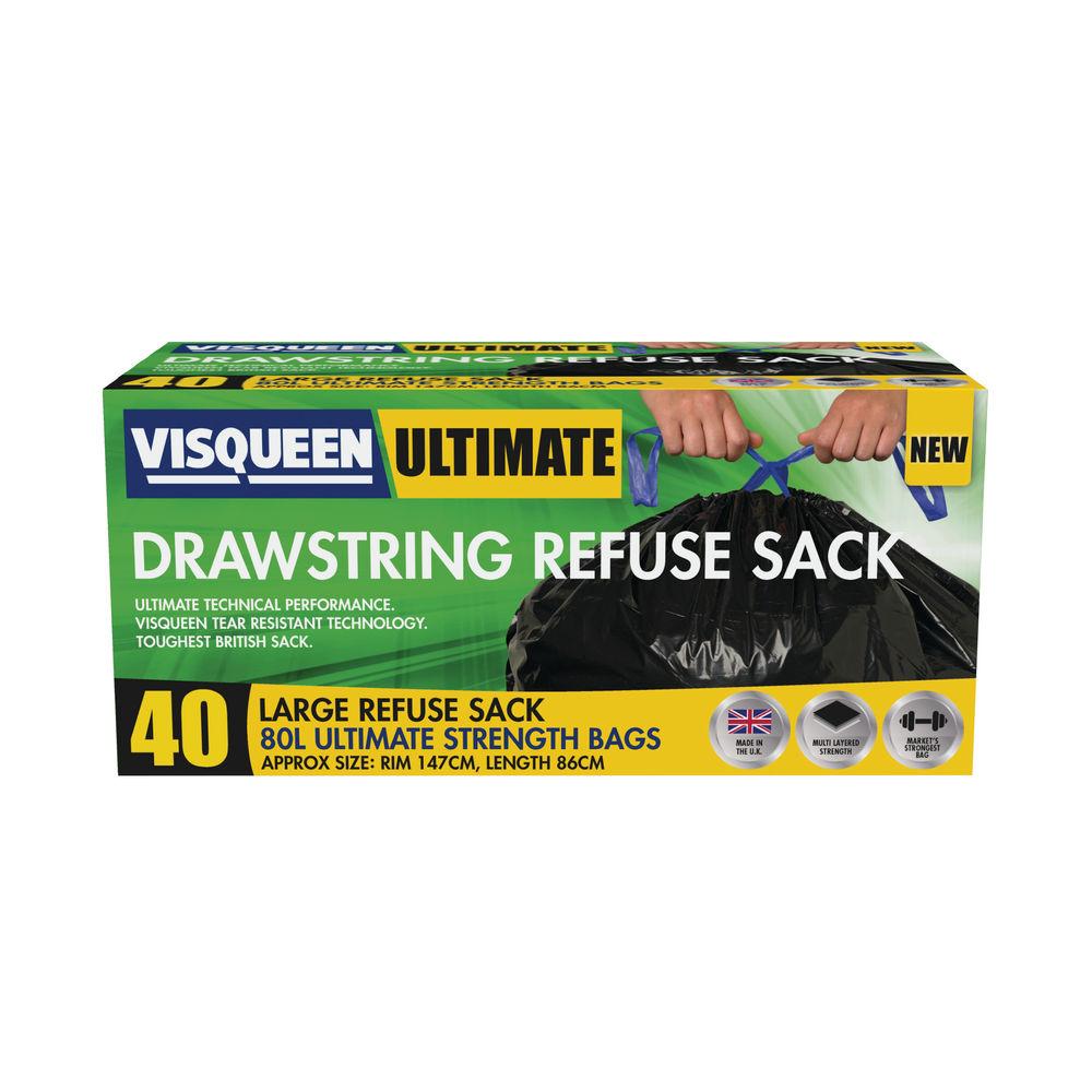 Visqueen 80L Black Ultimate Drawstring Refuse Sacks, Pack of 40 - RS057770