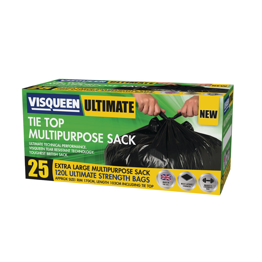 Visqueen Ultimate Tie Top Multipurpose Sack 120 Litre Black (Pack of 25) RS057771