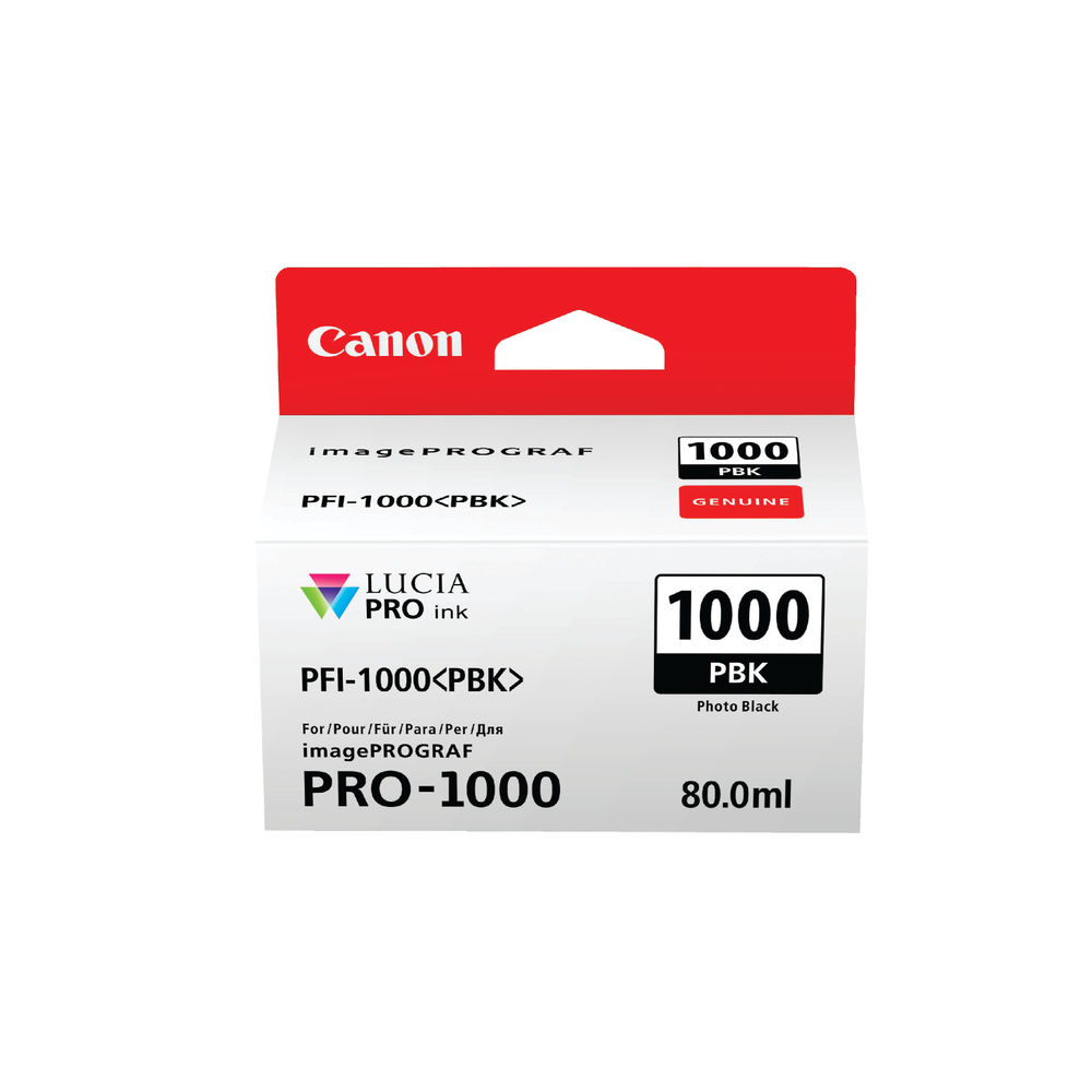 Canon PFI-1000PBK Photo Black Ink Cartridge - PFI-1000 PBK