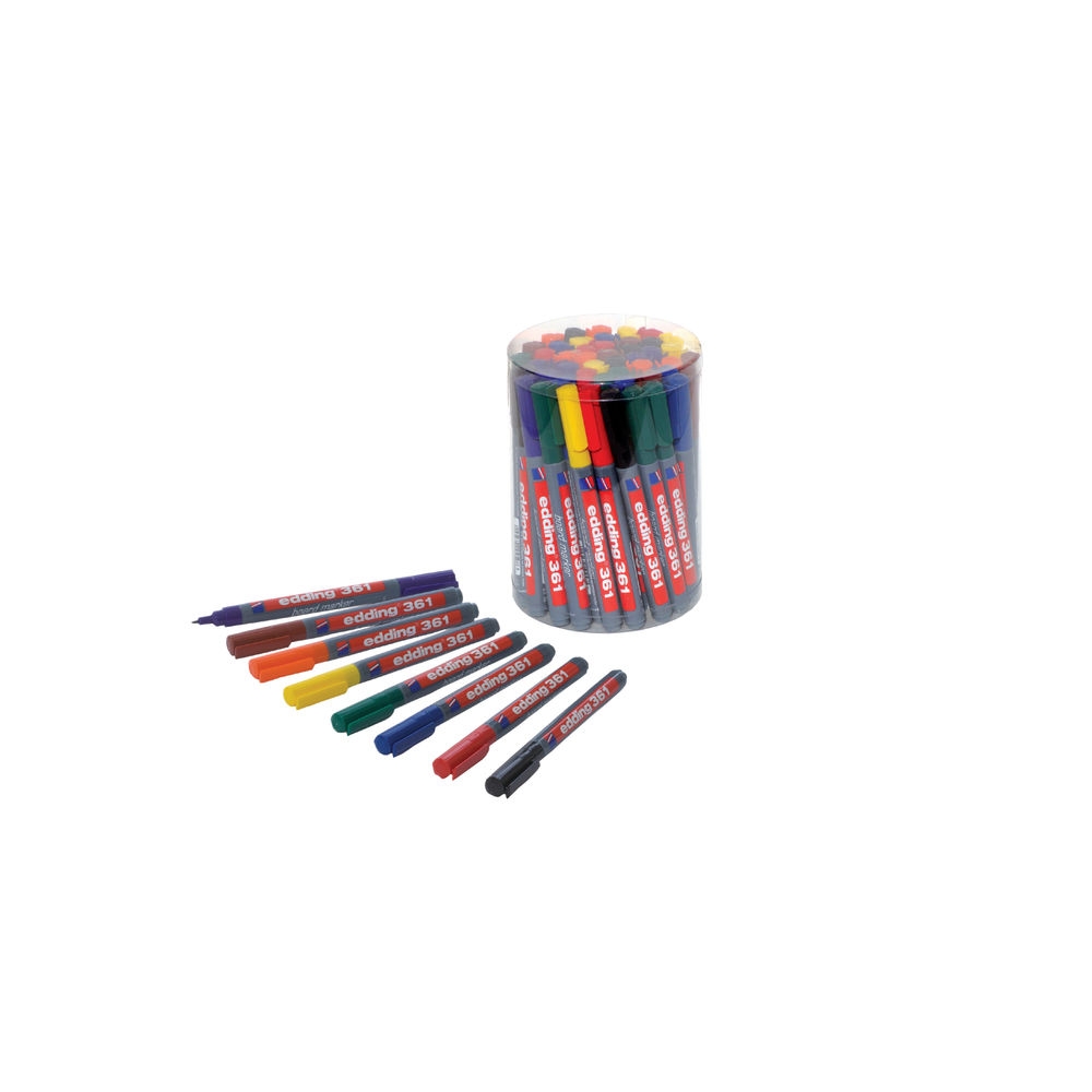 edding 361 Assorted Drywipe Markers, Pack of 50 - CP 43