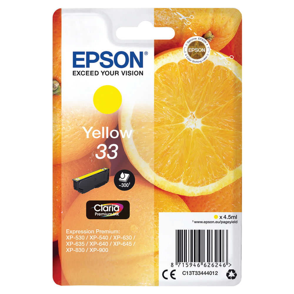 Epson 33 Yellow Inkjet Cartridge C13T33444012