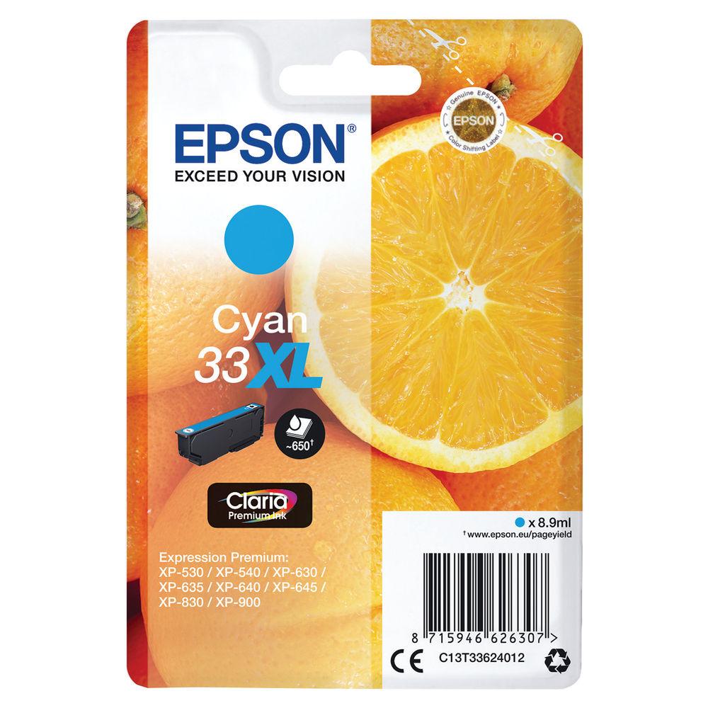 Epson 33XL Cyan Ink Cartridge - High Capacity C13T33624012