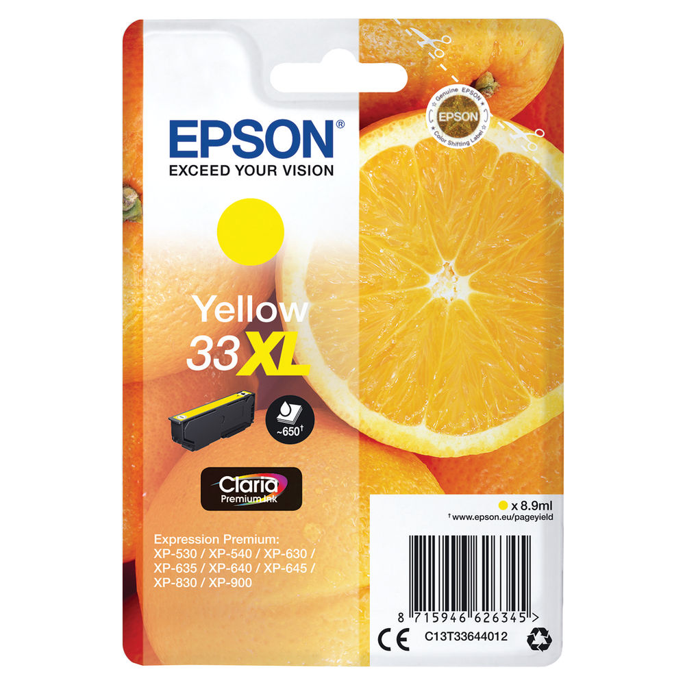 Epson 33XL Yellow Ink Cartridge - High Capacity C13T33644012