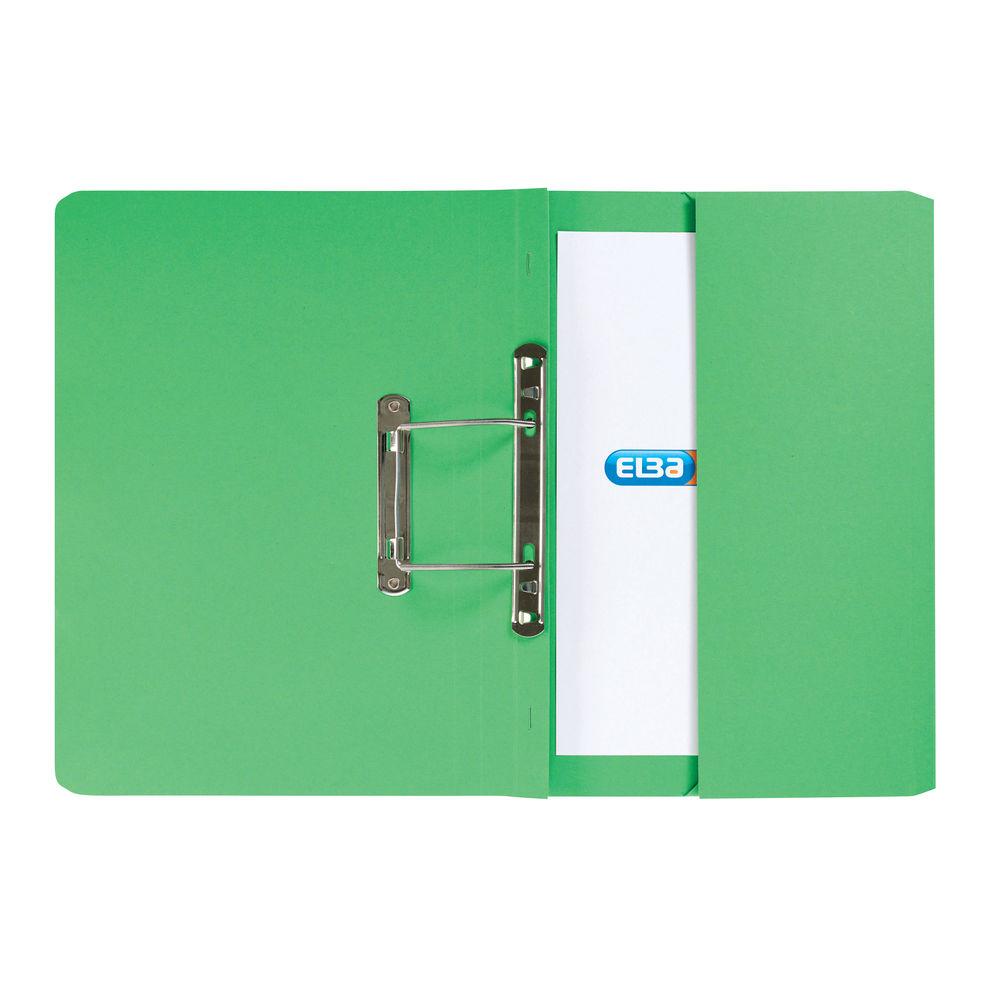 Elba Stratford Foolscap Green Spring Pocket Files 32mm, - Pack of 25 - 30114