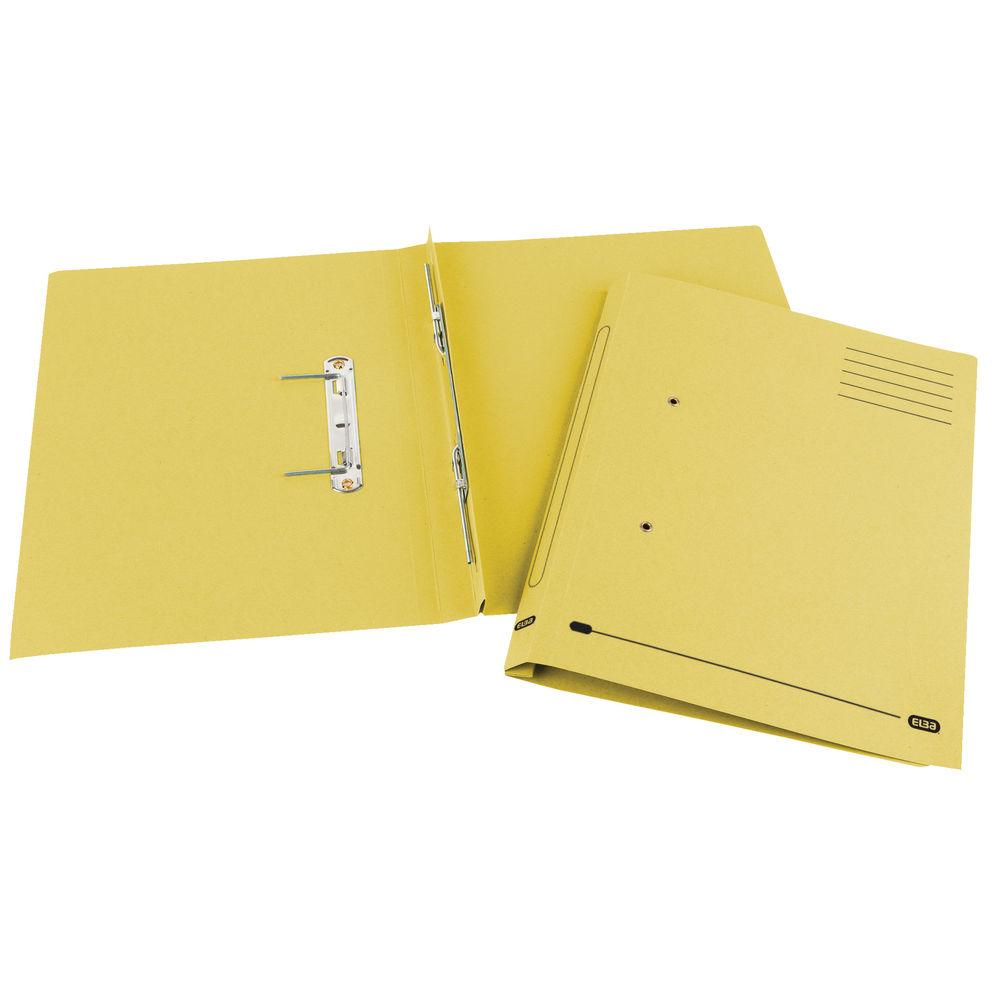 Elba Spirosort Yellow Foolscap Spring Files 315gsm, Pack of 25 - GX30619