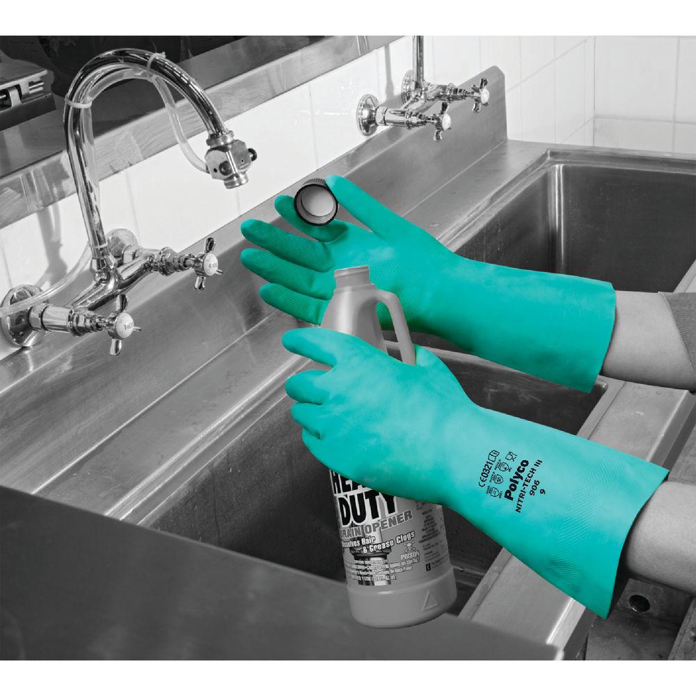 Polyco Size 9 Green Nitri-Tech III Rubber Gloves - 926