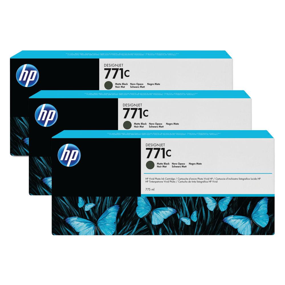 HP 771C Matte Black Ink Cartridge Multipack, Pack of 3 - B6Y07A