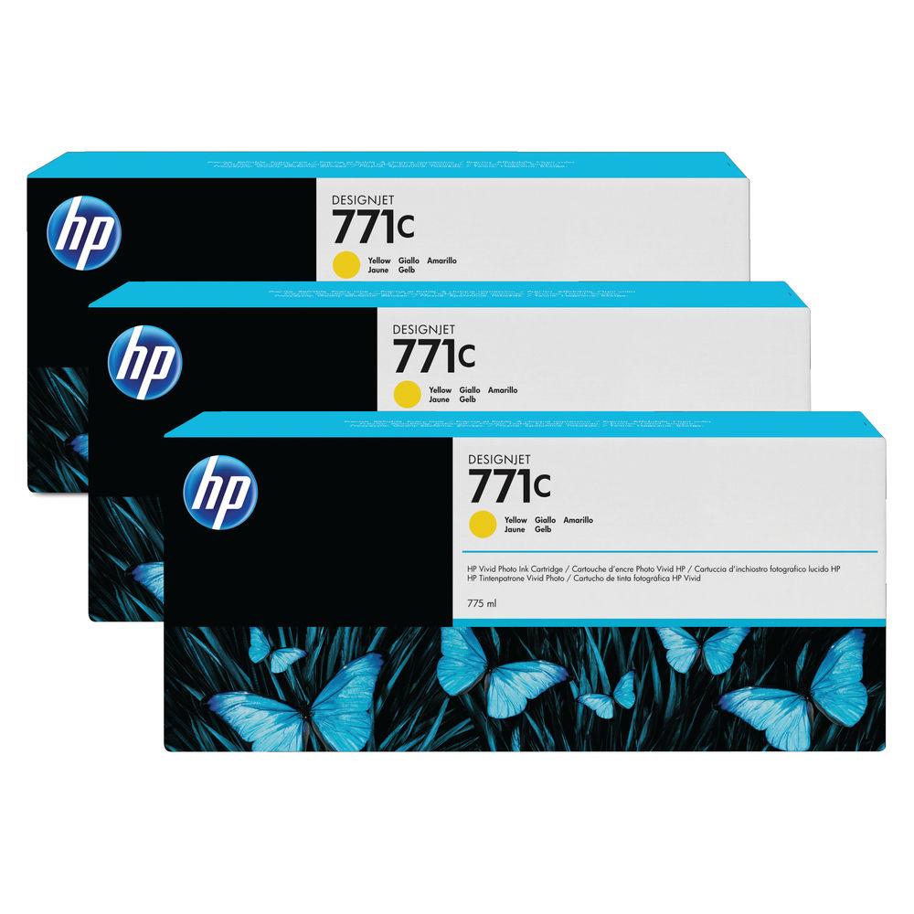 HP 771C Yellow Ink Cartridge Tri-Pack - B6Y34A