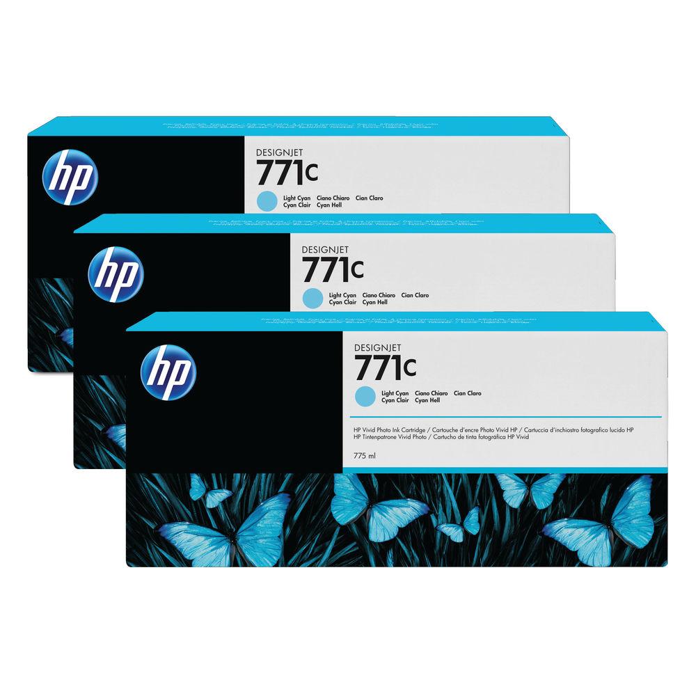 HP 771C Light Cyan Ink Cartridge (Pack of 3) B6Y36A