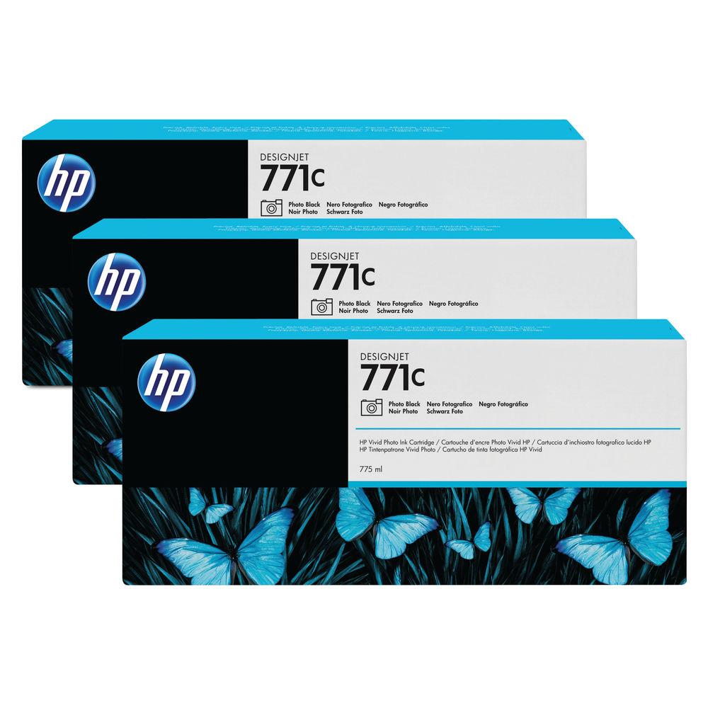 HP 771C Photo Black Ink Cartridge (Pack of 3) B6Y37A